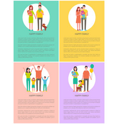 happy family set banner cartoon style vector image