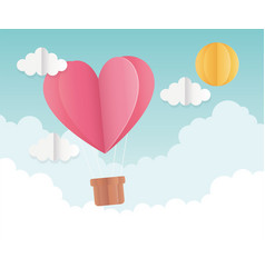 happy valentines day origami heart hot air balloon vector image