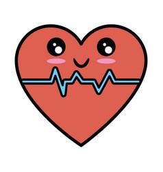 Heart and cardiology kawaii cartoon vector