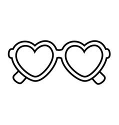 Heart shape sunglasses black and white vector