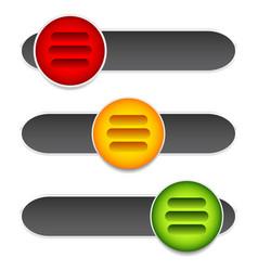 horizontal sliders adjust bars 3 state buttons vector image