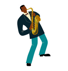 Isolated black man playing sax cartoon character vector