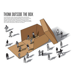 Isometric group business people think outside box vector