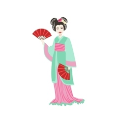 Japanese Geisha With Paper Fans vector