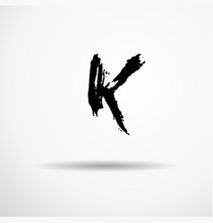 Letter k handwritten by dry brush rough strokes vector
