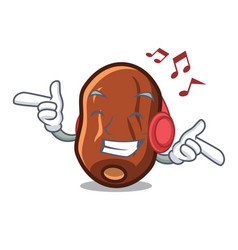 Listening music dates fruit mascot cartoon vector