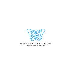 Logo design butterfly technology vector