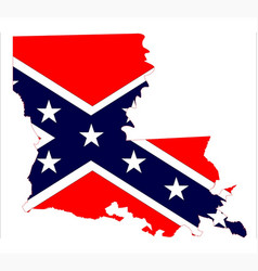 Louisiana state map and confederate flag vector