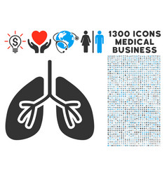 Lungs icon with 1300 medical business icons vector