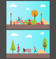 man sitting on bench in autumn park sport boy vector image