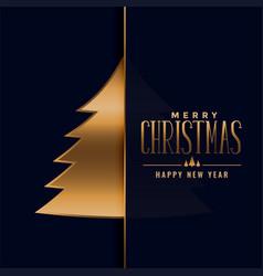 merry christmas premium golden tree design vector image