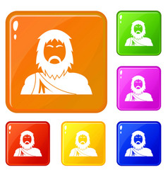 Neanderthal icons set color vector