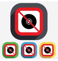 No CD or DVD sign icon Compact disc symbol vector