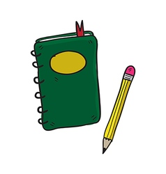 notebook and pencil hand drawn vector image