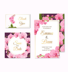 Orchid phalaenopsis wedding cards template set vector