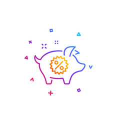 piggy sale line icon shopping discount sign vector image