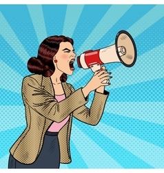 Pop Art Business Woman Shouting in Megaphone vector image