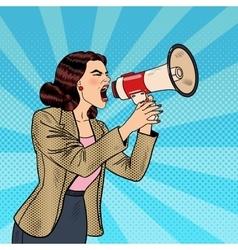 Pop art business woman shouting in megaphone vector