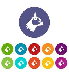 Pug dog set icons vector