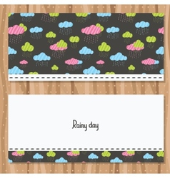 Rainy clouds brochure template vector