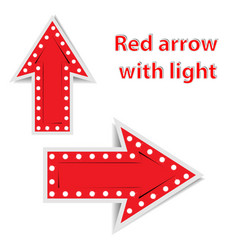 Red arrows with light on white background vector