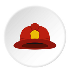 Red fireman helmet icon circle vector