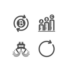 Refresh bitcoin graph chart and ship icons vector