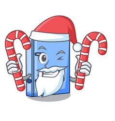Santa with candy office binder file isolated on vector