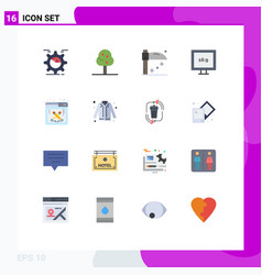 Set 16 modern ui icons symbols signs for work vector
