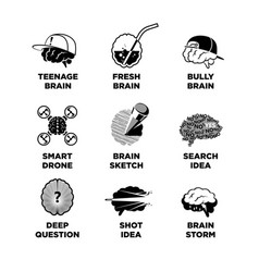 Set of different brain sketches vector