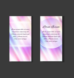 Set of posters with holographic foil background vector