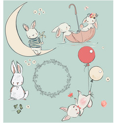 Set with cute hares vector
