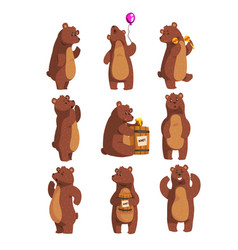 Set with funny bear forest animal waving paw vector