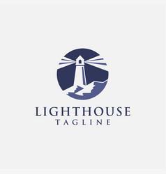 shinning lighthouse logo template vector image