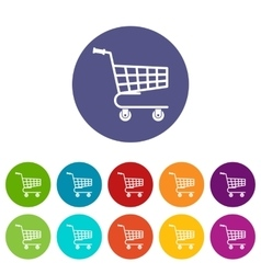 Shopping cart set icons vector image