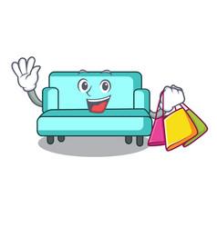 shopping sofa character cartoon style vector image