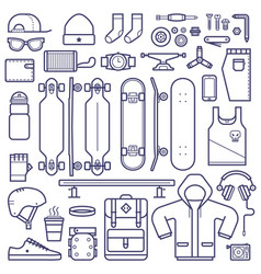skateboard equipment line set vector image