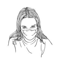 Sketch preteen girl portrait in medical face vector