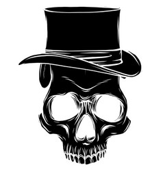 Skull pimp with hat on white vector