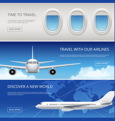 sky airplane tourism banners civil aviation vector image