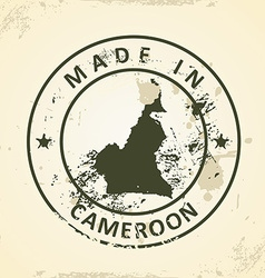 Stamp with map of Cameroon vector image