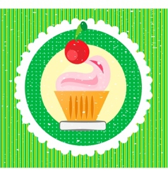 Sweet on striped background vector image
