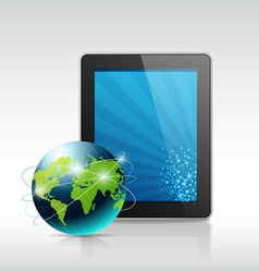 tablet and blue globe vector image