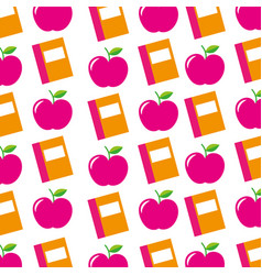 teacher day book and apple decoration seamless vector image