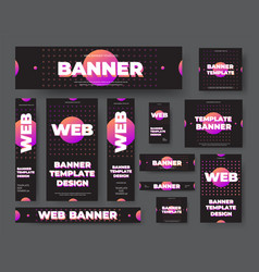 template black web banners with purple vector image