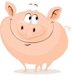 the cute fat pig smiling cartoon vector image