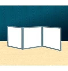 Threefold brochure realistic mockup on the wooden vector image