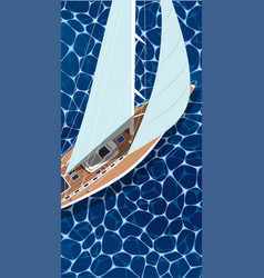 Top view sail boat on water vector