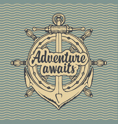 travel banner with anchor helm and inscription vector image