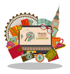 Travel planning to london flat concept vector